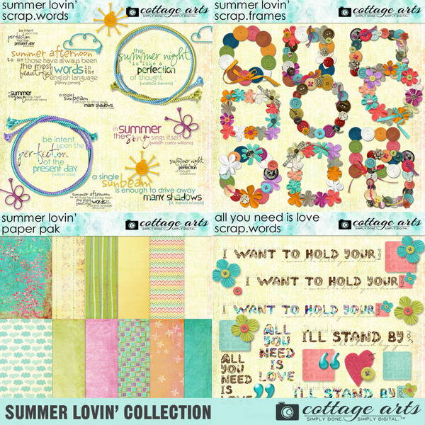Summer Lovin' Collection Digital Art - Digital Scrapbooking Kits