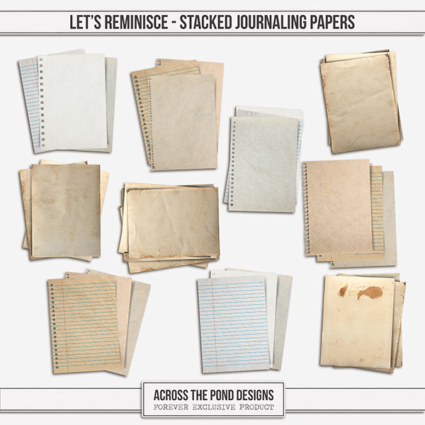 Let's Reminisce Stacked Journaling Papers Digital Art - Digital Scrapbooking Kits