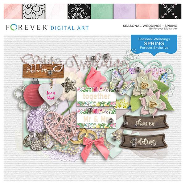 Seasonal Weddings - Spring Digital Art - Digital Scrapbooking Kits