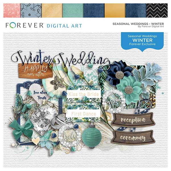 Seasonal Weddings - Winter Digital Art - Digital Scrapbooking Kits