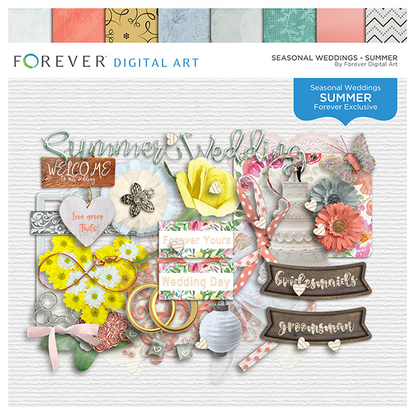Seasonal Weddings - Summer Digital Art - Digital Scrapbooking Kits