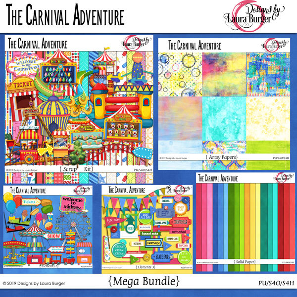 The Carnival Adventure Mega Bundle Digital Art - Digital Scrapbooking Kits