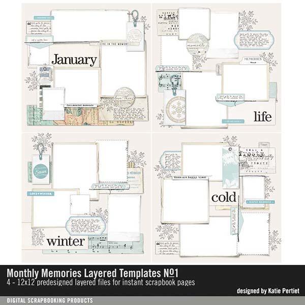 Monthly Memories Layered Template Pack No. 01 Digital Art - Digital Scrapbooking Kits