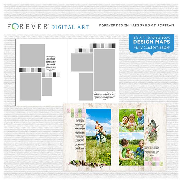 Forever Design Maps 39 8.5x11 Portrait Digital Art - Digital Scrapbooking Kits