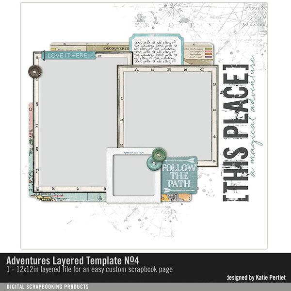 Adventures Layered Template No. 04 Digital Art - Digital Scrapbooking Kits
