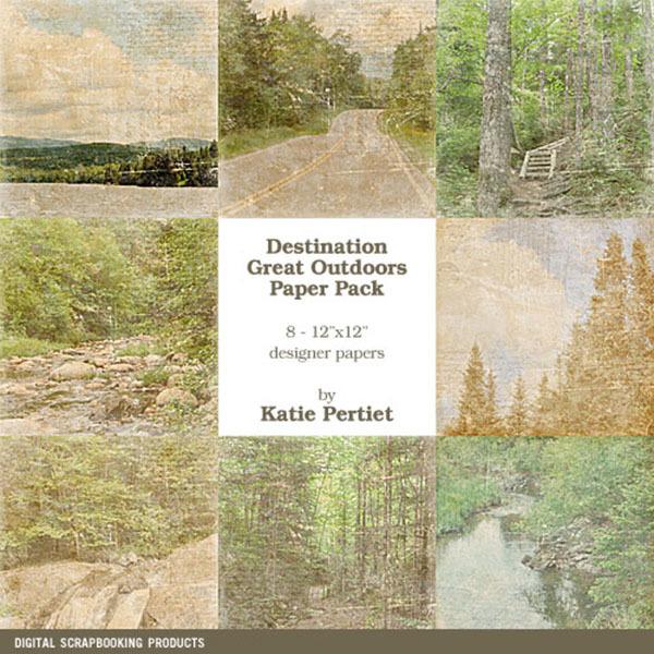 Destination Great Outdoors Paper Pack No. 01 Digital Art - Digital Scrapbooking Kits