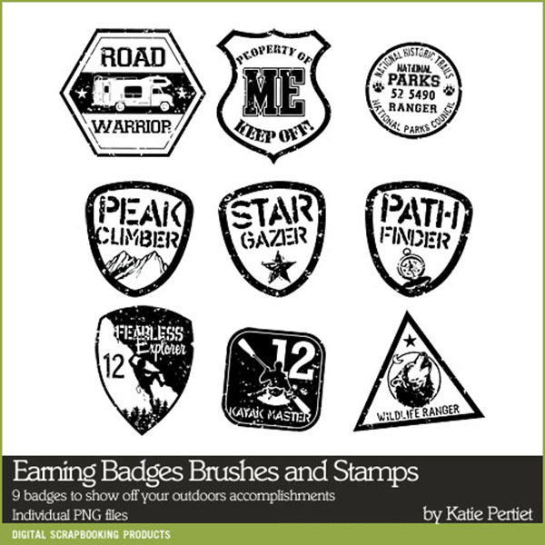 Earning Badges Brushes and Stamps Digital Art - Digital Scrapbooking Kits