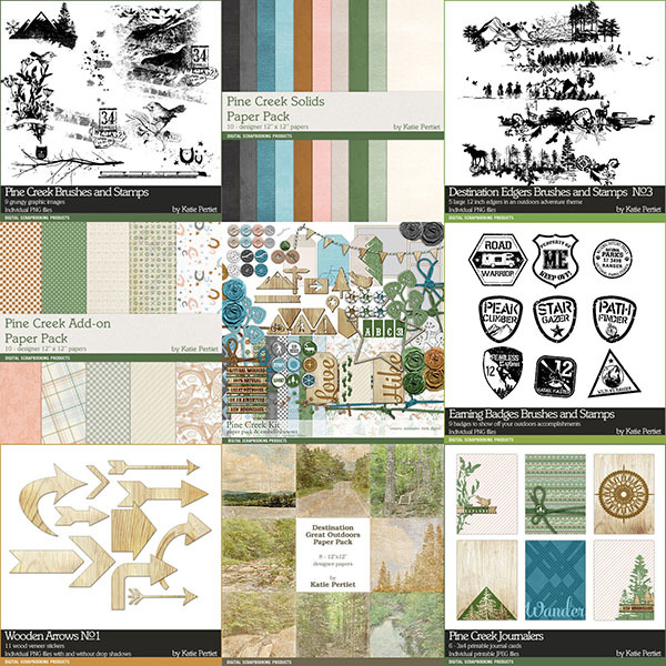Pine Creek Scrapbooking Bundle Digital Art - Digital Scrapbooking Kits