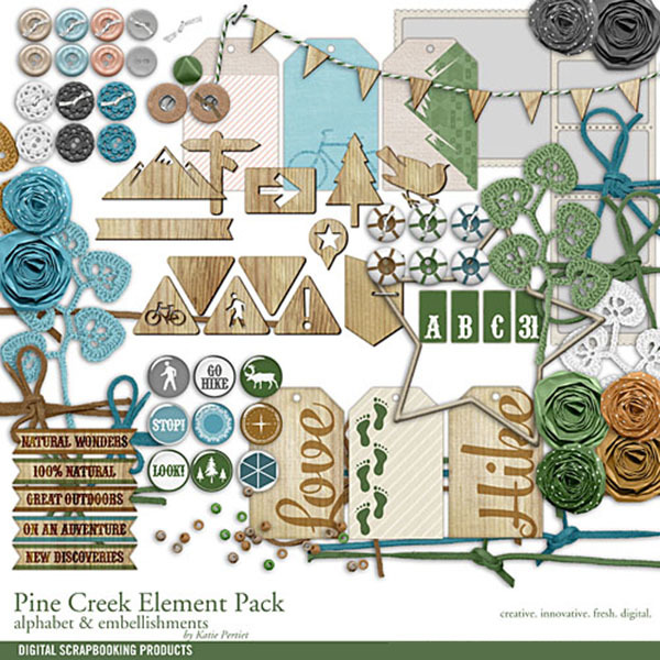 Pine Creek Element Pack Digital Art - Digital Scrapbooking Kits