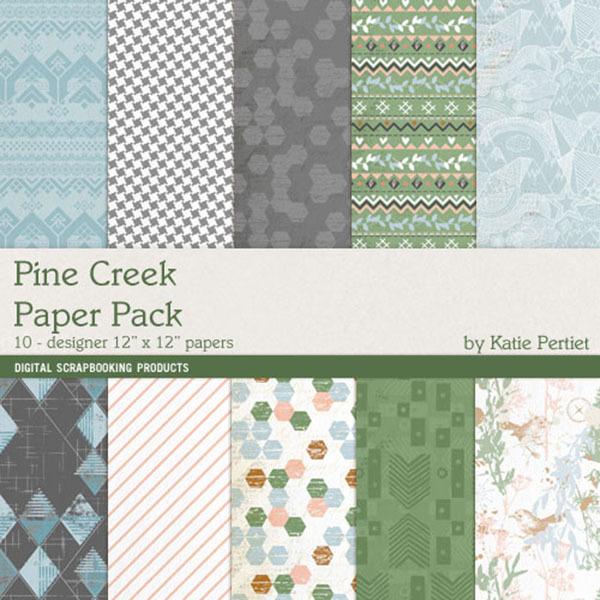 Pine Creek Paper Pack Digital Art - Digital Scrapbooking Kits