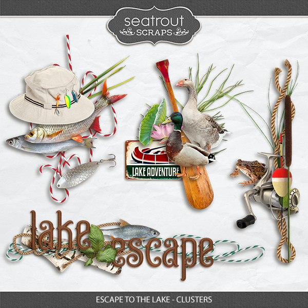 Escape to the Lake Clusters Digital Art - Digital Scrapbooking Kits
