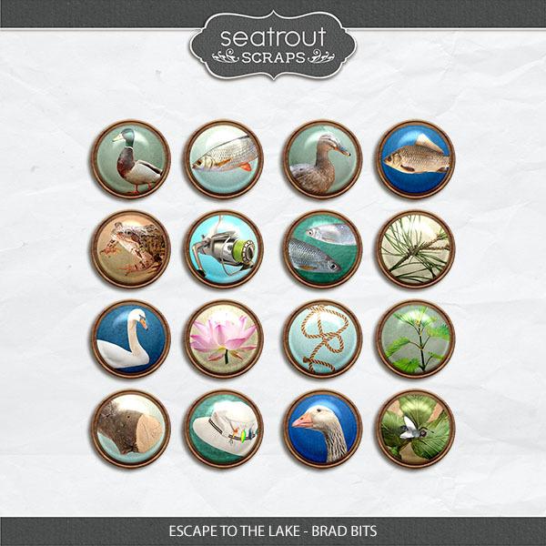 Escape to the Lake Brad Bits Digital Art - Digital Scrapbooking Kits
