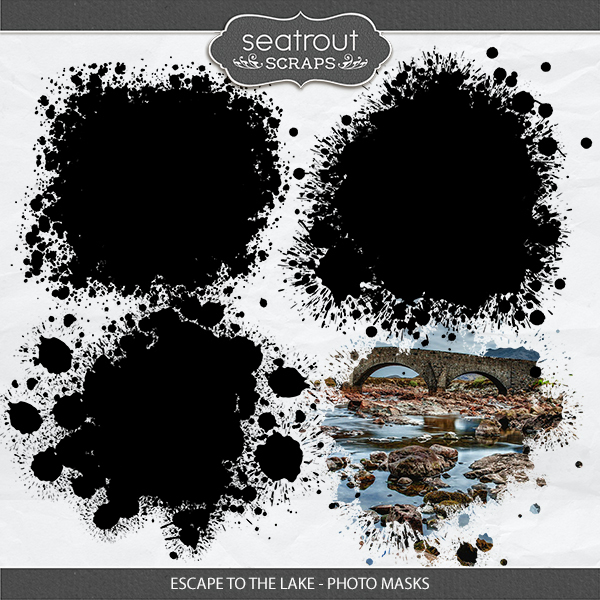 Escape to the Lake Photo Masks Digital Art - Digital Scrapbooking Kits