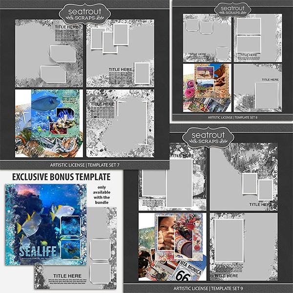 Artistic License Bonus Bundle 3 - 12x12 Digital Art - Digital Scrapbooking Kits