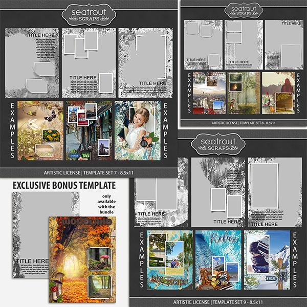 Artistic License Bonus Bundle 3 - 8.5x11 Digital Art - Digital Scrapbooking Kits