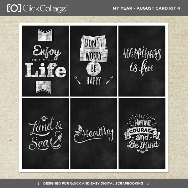 My Year - August Card Kit 4 Digital Art - Digital Scrapbooking Kits