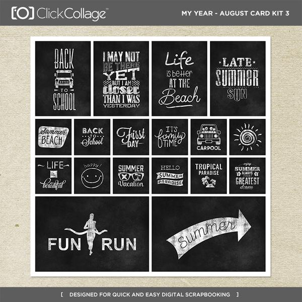 My Year - August Card Kit 3 Digital Art - Digital Scrapbooking Kits