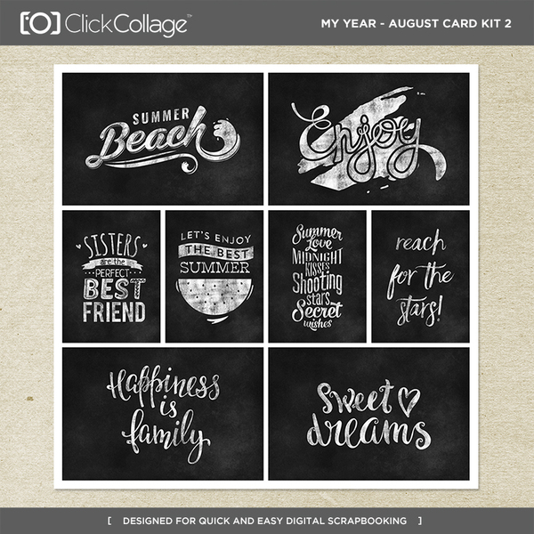 My Year - August Card Kit 2 Digital Art - Digital Scrapbooking Kits