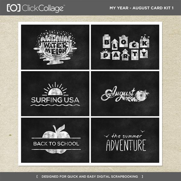 My Year - August Card Kit 1 Digital Art - Digital Scrapbooking Kits