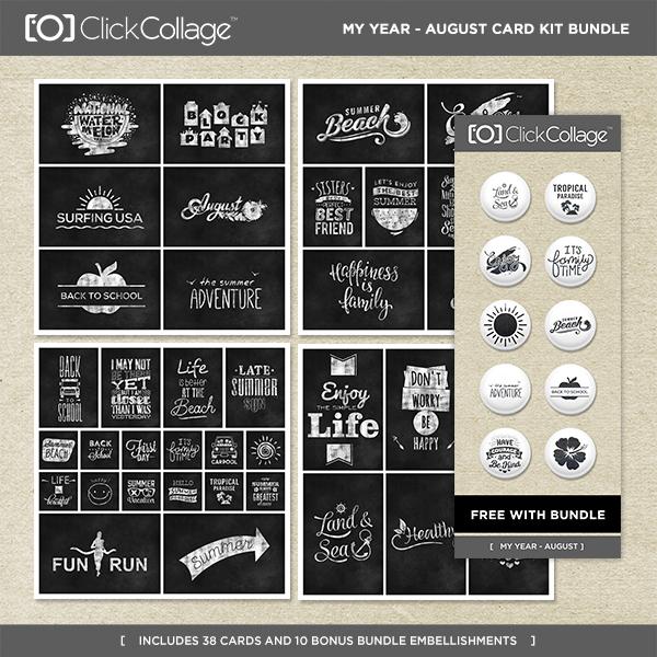 My Year - August Card Kit Bundle Digital Art - Digital Scrapbooking Kits