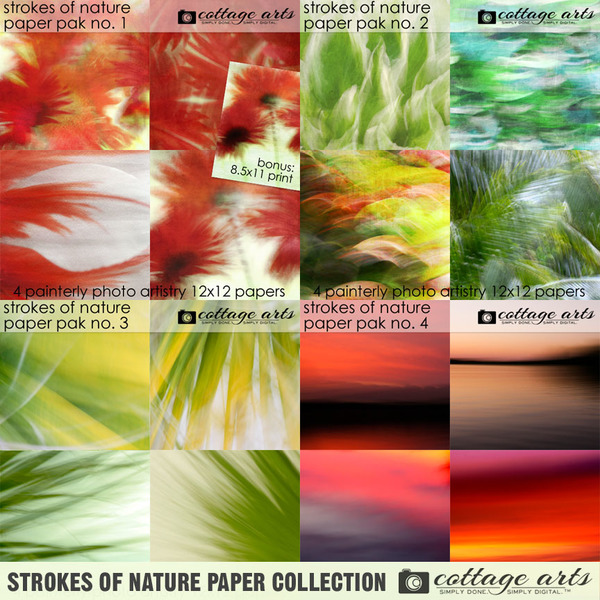 Strokes of Nature Paper Collection Digital Art - Digital Scrapbooking Kits