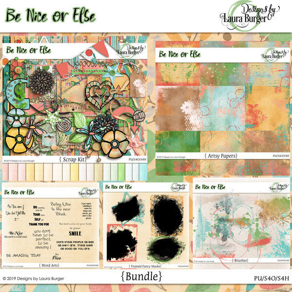 Be Nice or Else Bundle Digital Art - Digital Scrapbooking Kits
