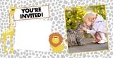 Cheerful Zoo Birthday 4x8 Landscape Photo Card Templates