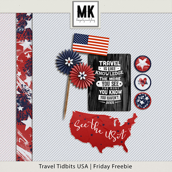 Travel Tidbits USA Friday Freebie Digital Art - Digital Scrapbooking Kits