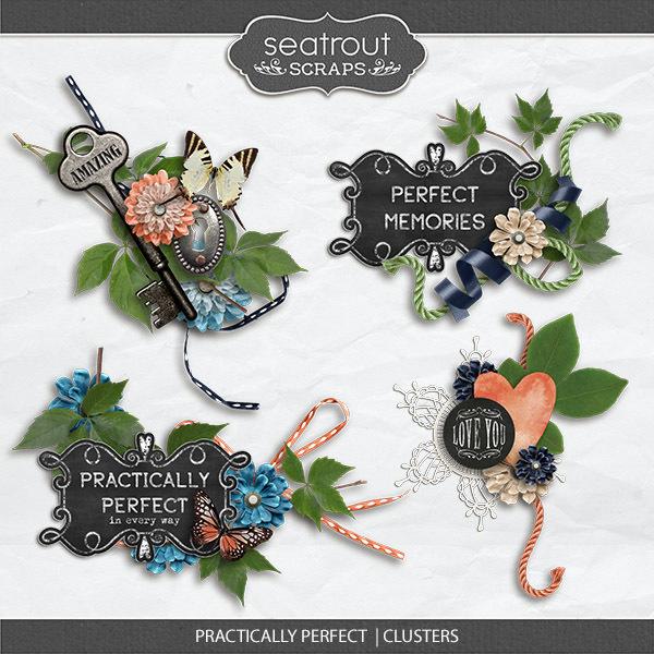 Practically Perfect Clusters Digital Art - Digital Scrapbooking Kits