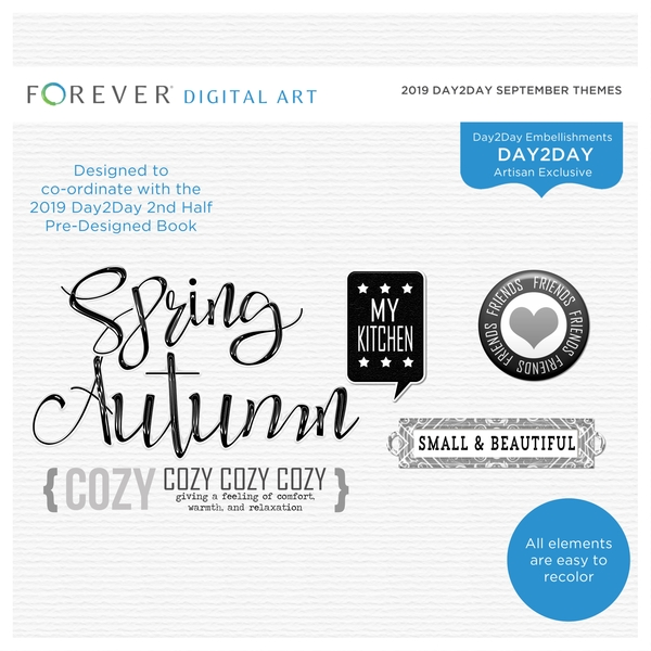 2019 Day2Day September Themes Digital Art - Digital Scrapbooking Kits