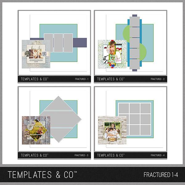 Fractured 1-4 Digital Art - Digital Scrapbooking Kits