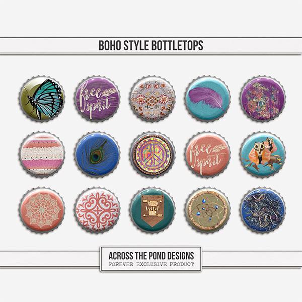 Boho Style Bottletops Digital Art - Digital Scrapbooking Kits