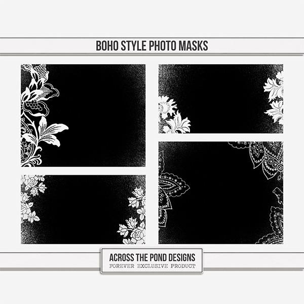Boho Style Photo Masks Digital Art - Digital Scrapbooking Kits