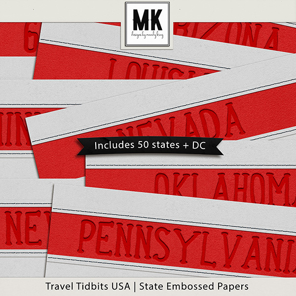 Travel Tidbits USA State Embossed Papers Digital Art - Digital Scrapbooking Kits