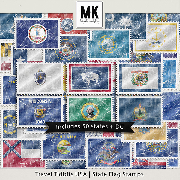 Travel Tidbits USA State Flag Stamps Digital Art - Digital Scrapbooking Kits