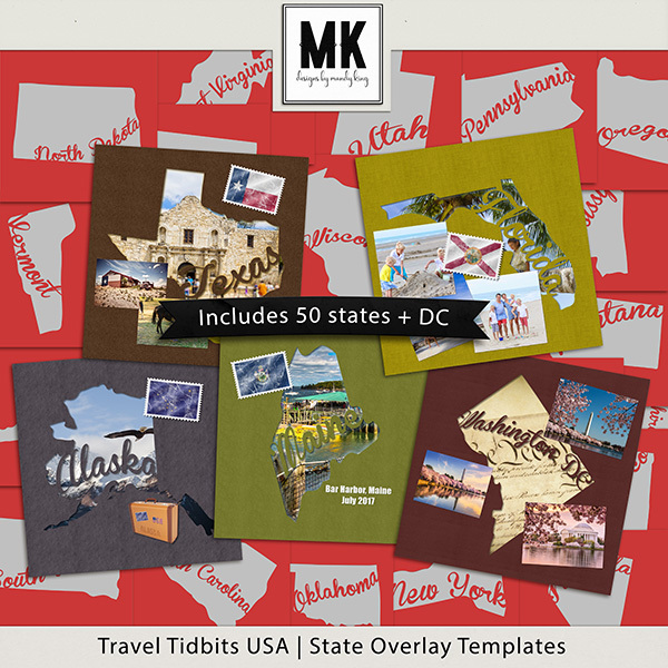 Travel Tidbits USA State Overlay Templates Digital Art - Digital Scrapbooking Kits