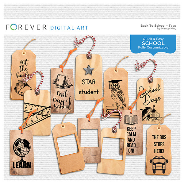 Back To School - Tags Digital Art - Digital Scrapbooking Kits