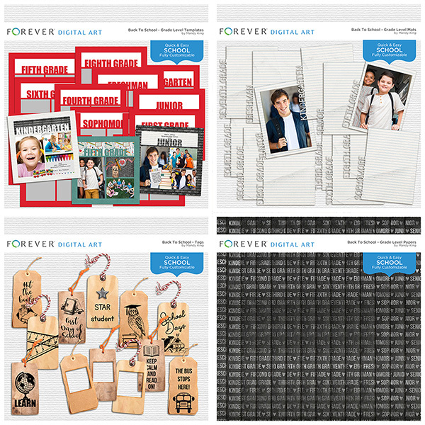 Back To School - Bundle Digital Art - Digital Scrapbooking Kits