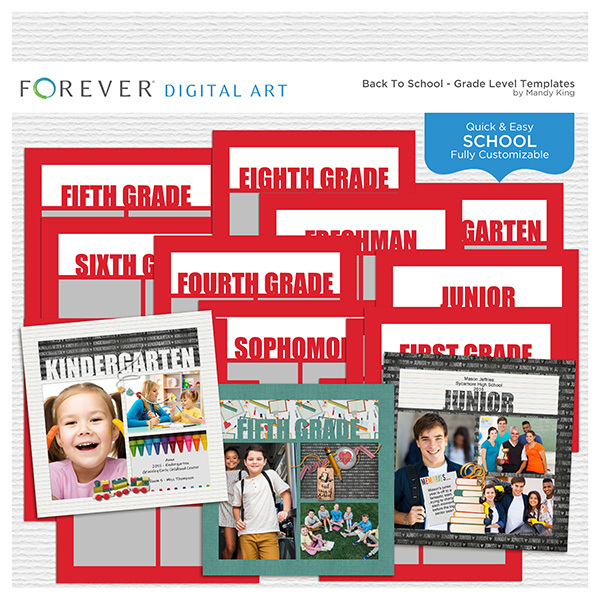 Back To School - Grade Level Templates Digital Art - Digital Scrapbooking Kits