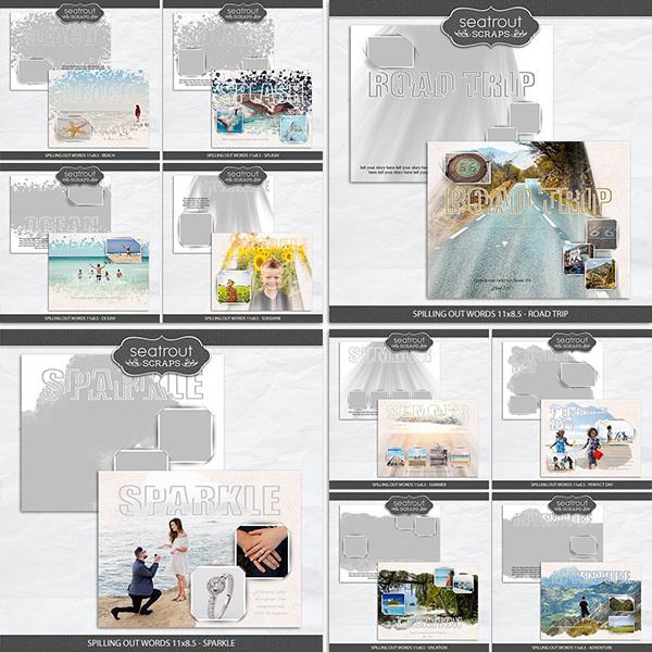 Spilling Out Words 11x8.5 - Bundle1 Digital Art - Digital Scrapbooking Kits