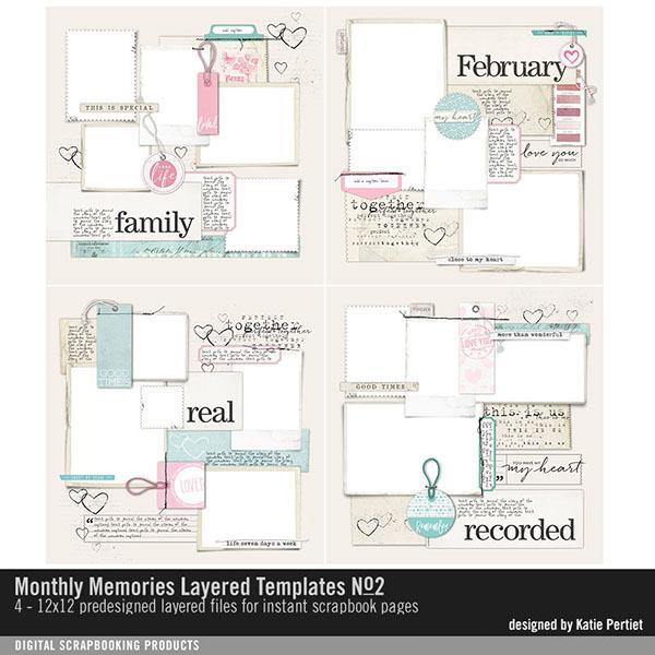 Monthly Memories Layered Template Pack No. 02 Digital Art - Digital Scrapbooking Kits