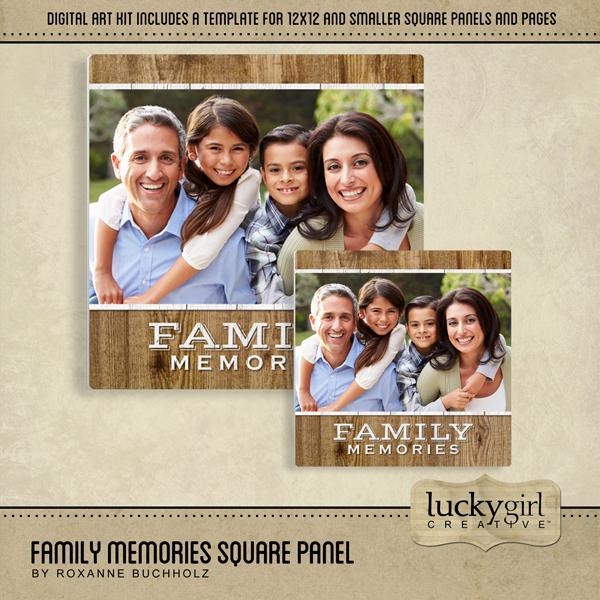 Family Memories Square Panel Digital Art - Digital Scrapbooking Kits