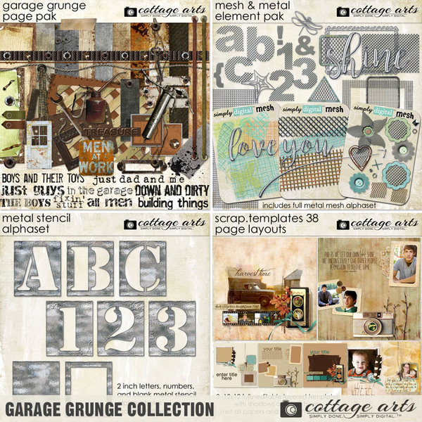 Garage Grunge Collection Digital Art - Digital Scrapbooking Kits