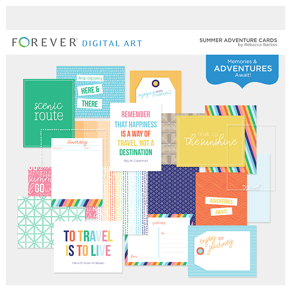 Summer Adventure Cards Digital Art - Digital Scrapbooking Kits