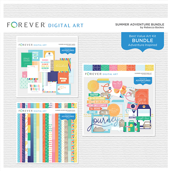 Summer Adventure Bundle Digital Art - Digital Scrapbooking Kits