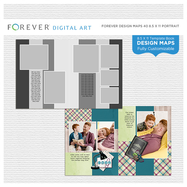 Forever Design Maps 40 8.5x11 Portrait Digital Art - Digital Scrapbooking Kits