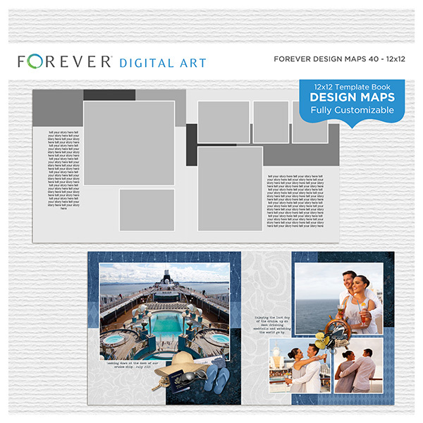 Forever Design Maps 40 12x12 Digital Art - Digital Scrapbooking Kits