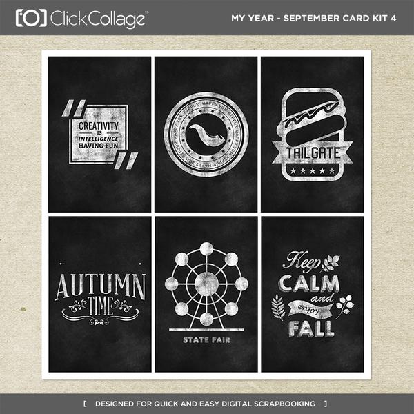 My Year - September Card Kit 4 Digital Art - Digital Scrapbooking Kits