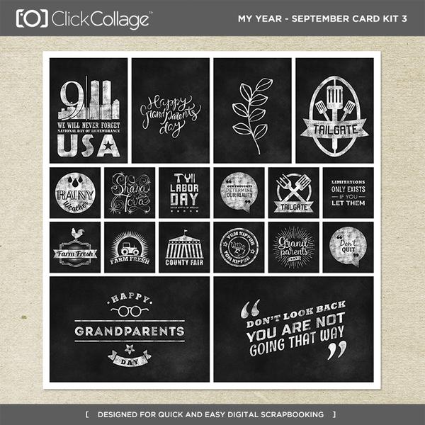 My Year - September Card Kit 3 Digital Art - Digital Scrapbooking Kits