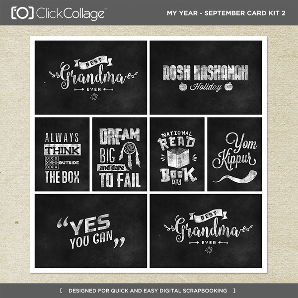 My Year - September Card Kit 2 Digital Art - Digital Scrapbooking Kits
